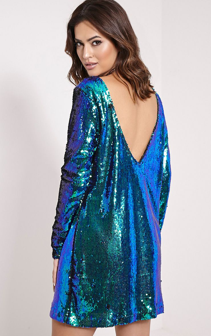 Clarita Teal Oversized Sequin Dress 1