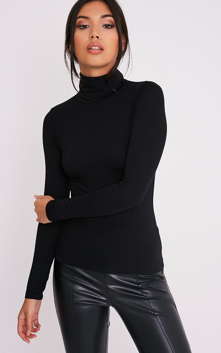 Basic Black Long Sleeve Turtle Neck Top 1