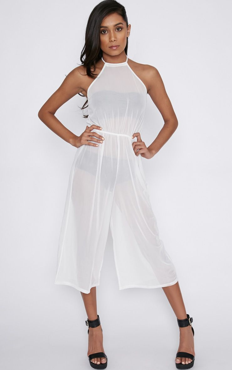 Sienna White Sheer Backless Jumpsuit White