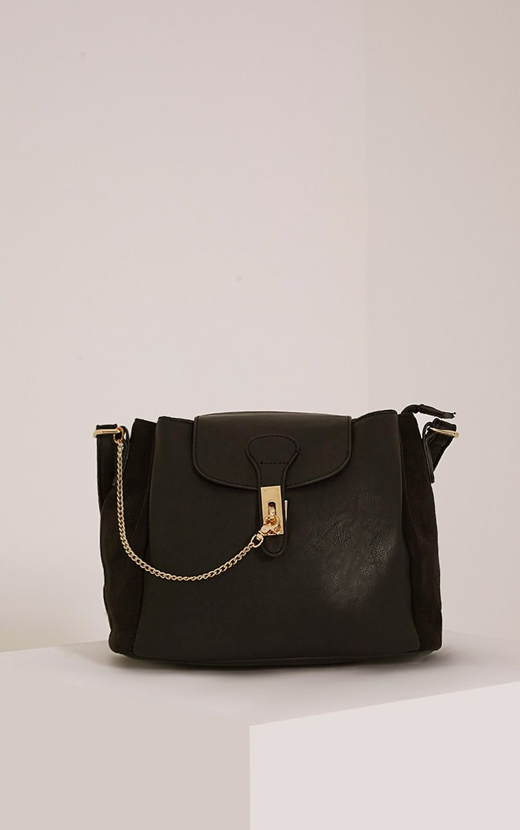 Vara Black Faux Leather Chain Detail Shoulder Bag Black