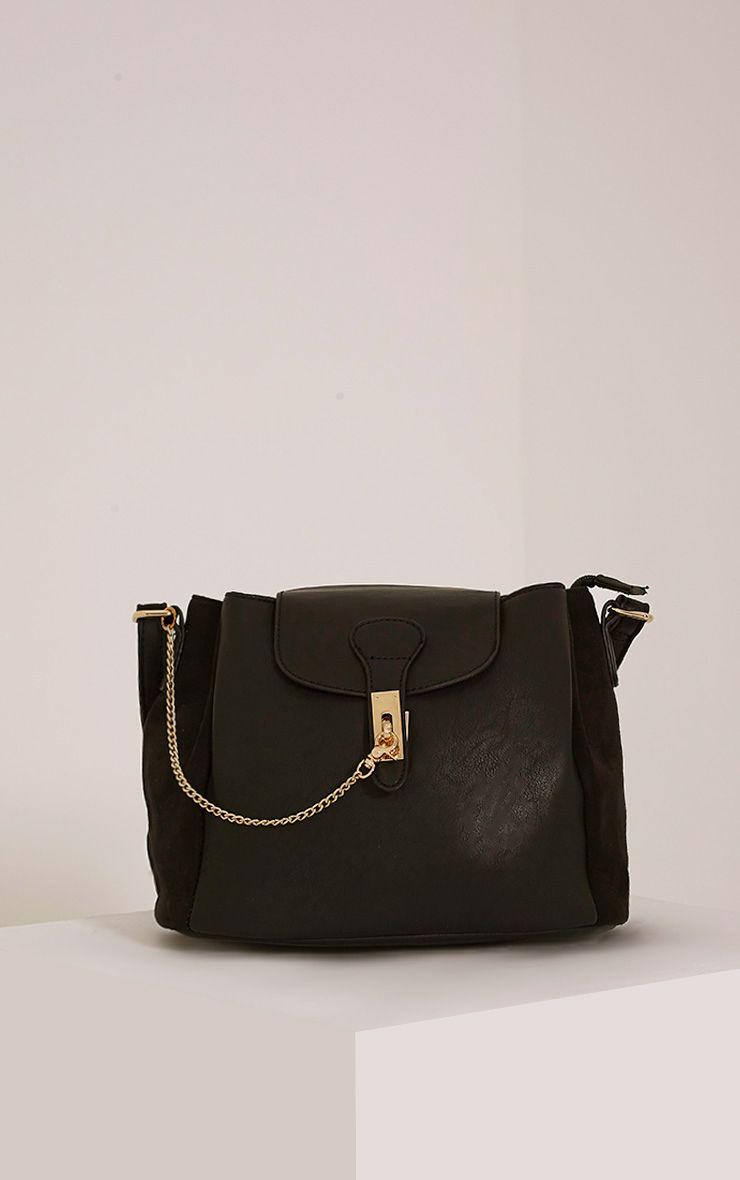 Vara Black Faux Leather Chain Detail Shoulder Bag Black
