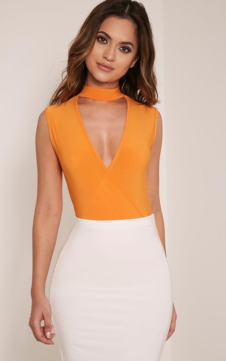 Sherrie Bright Orange Choker Sleeveless Thong Bodysuit 1