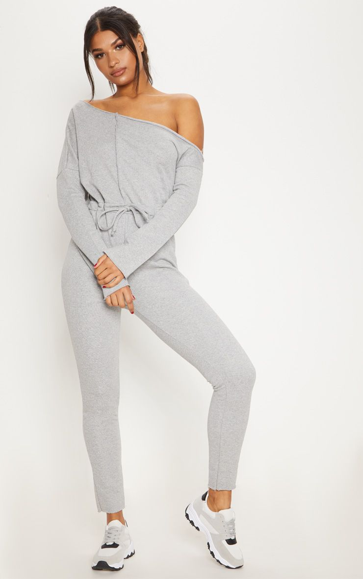 PRETTYLITTLETHING Marl Loop Back Off The Shoulder Jumpsuit Countdown Package Sale Online Clearance Store Online Buy Cheap In China Looking For Cheap Inexpensive 0pb4ktqvXw