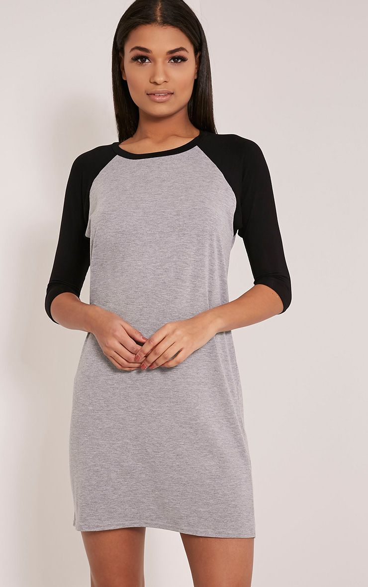 Kalei Grey Contrast Raglan Sleeve T Shirt Dress 1