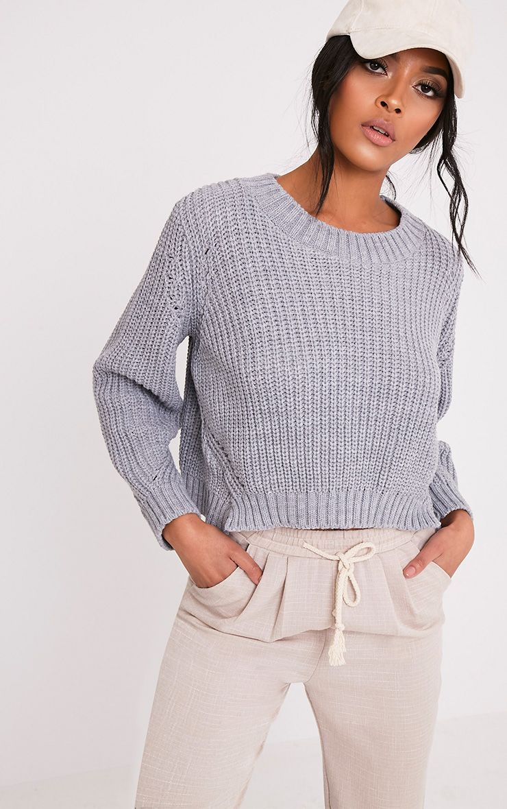 Aine Grey Fisherman Knit Cropped Jumper 1