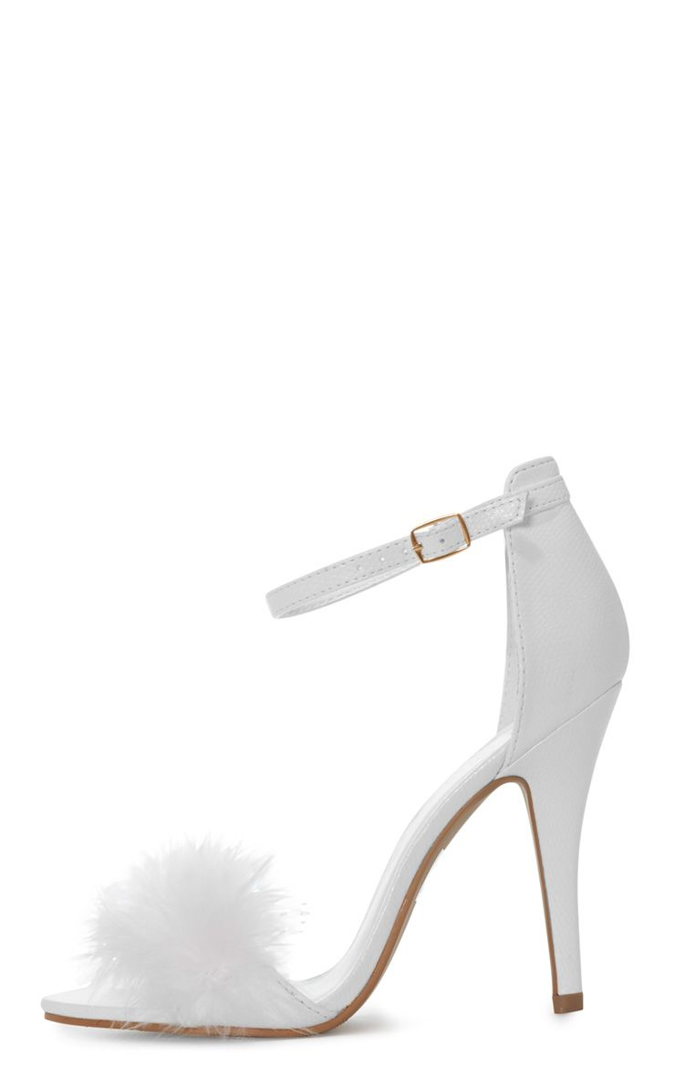 Saskia White Leather Fluffy Strappy Heeled Sandals 1