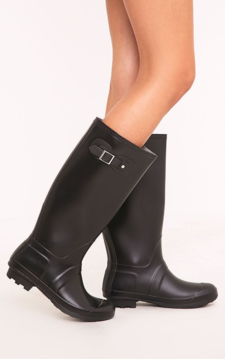 Martina Black Long Rain Boots