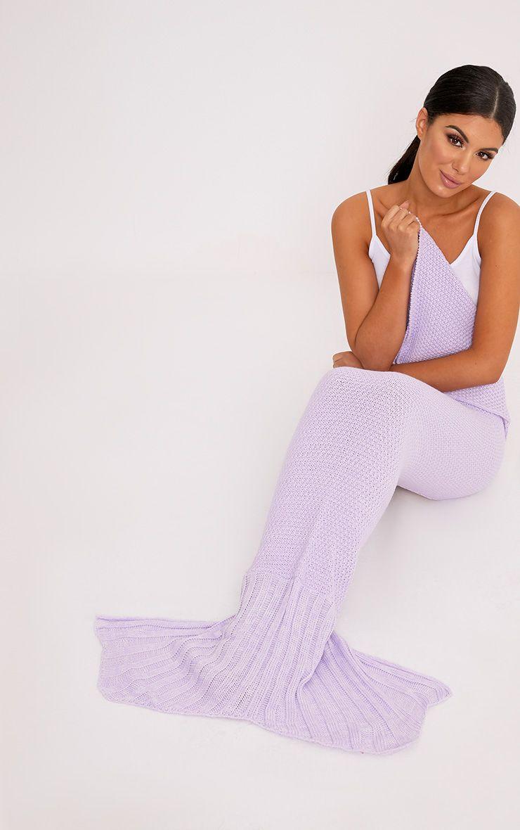 Lilac Knitted Mermaid Blanket