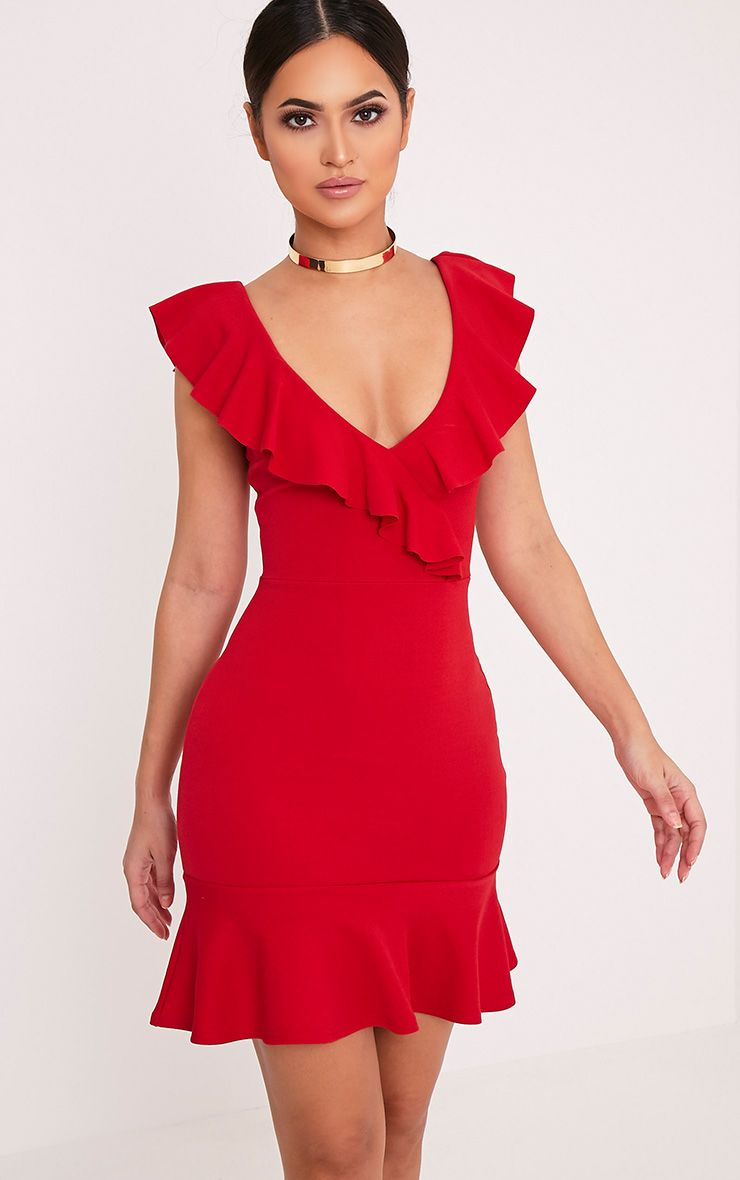 Luissi Red Frill Detail Bodycon Dress