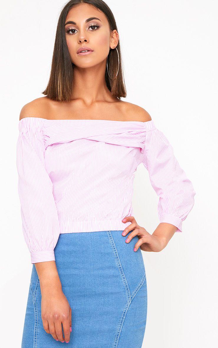 Pink Stripe Bardot Shirt