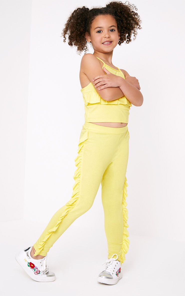 Yellow Ruffle Side Leggings