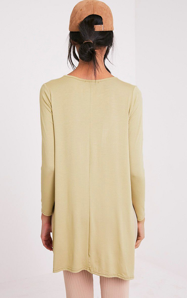 Basic Pale Khaki Longsleeve Side Split Top 2