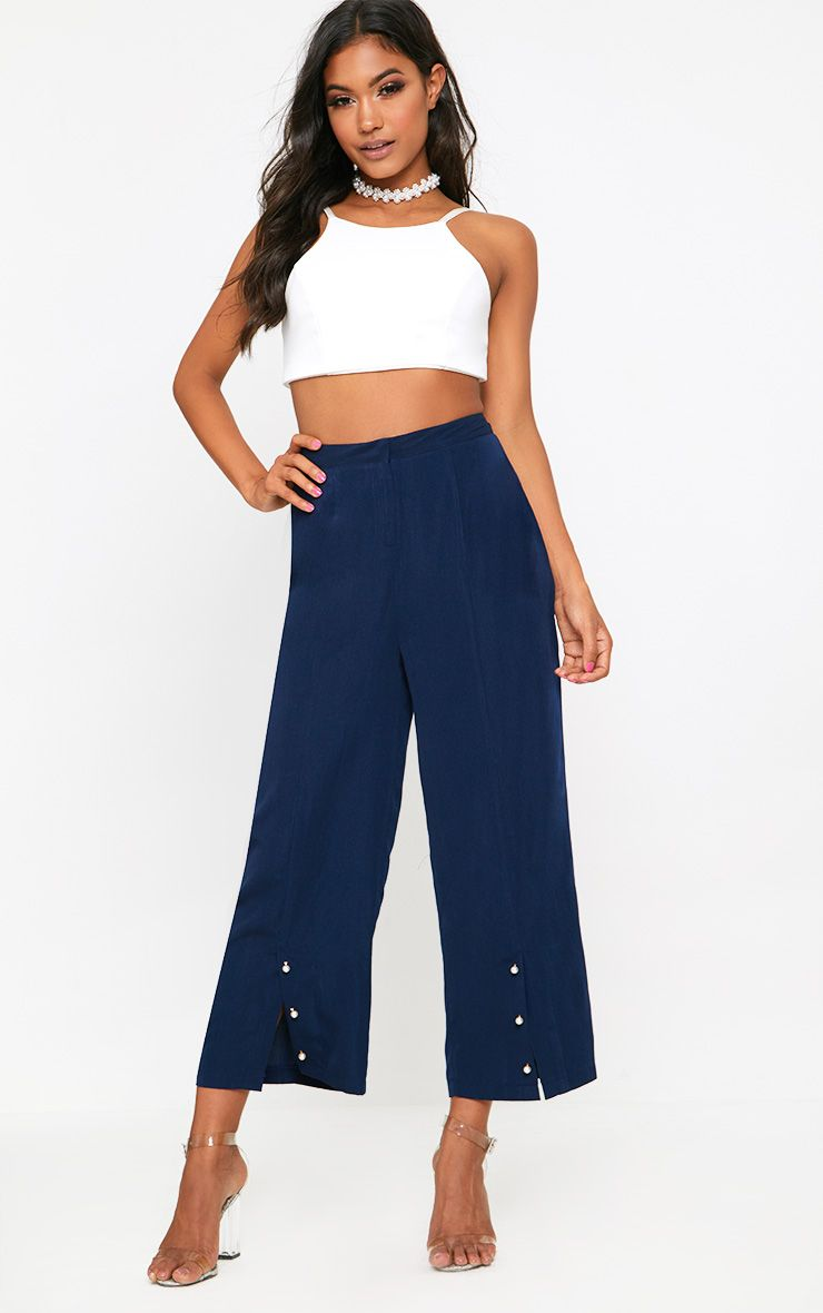 Navy Pearl Trim Front Split Culottes