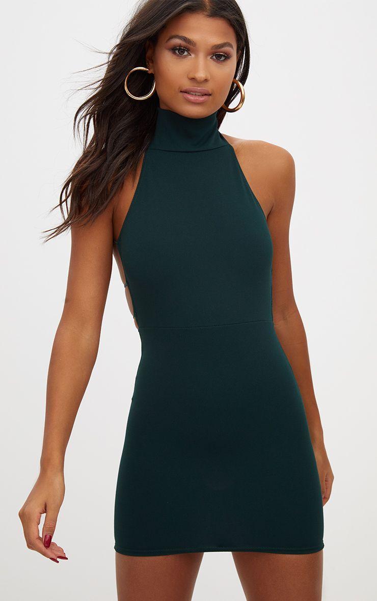 Largo jackson back emerald bodycon dress high strappy neck green websites