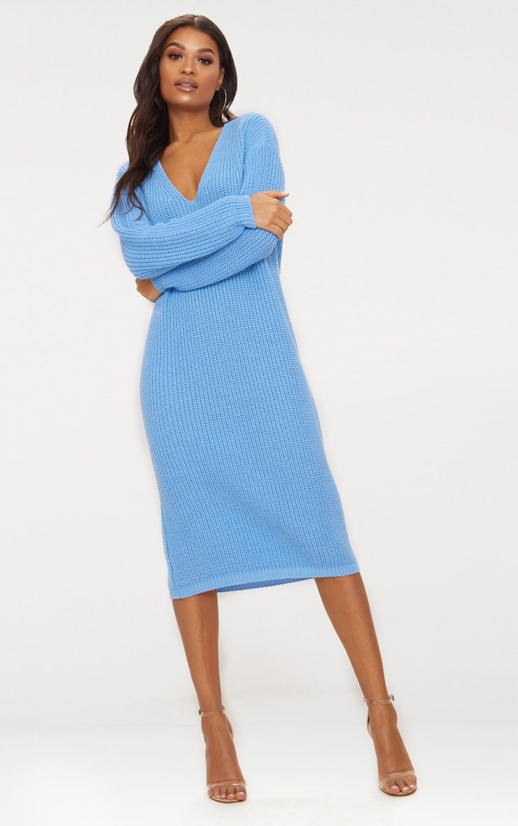 Blue V-Neck Oversized Knitted Dress