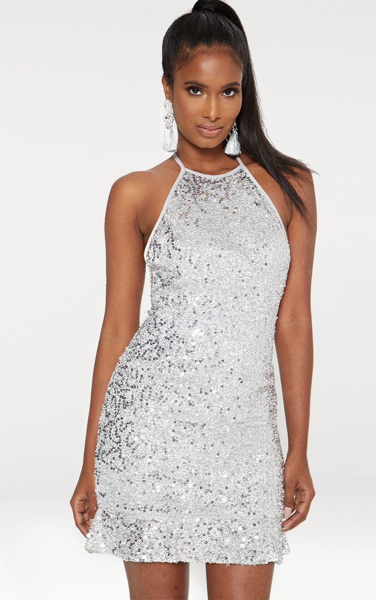 Silver Halterneck Sequin Foil Frill Hem Bodycon Dress 1