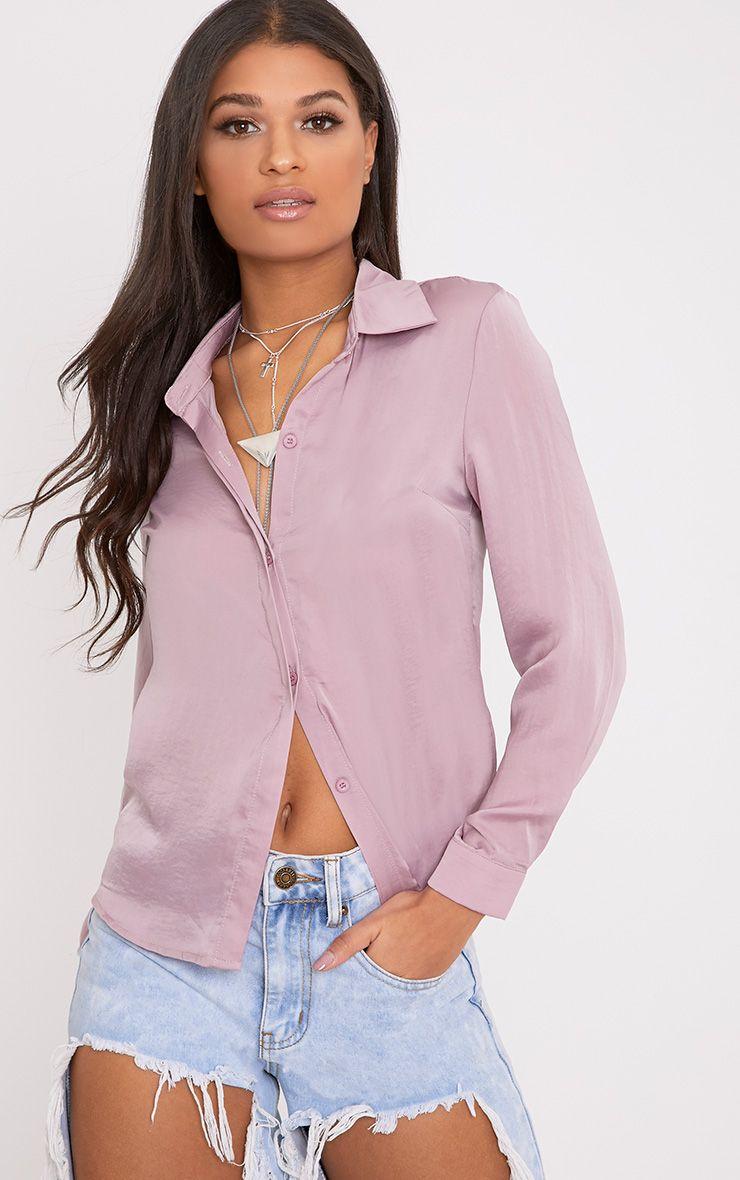 Lina Mauve Satin Shirt