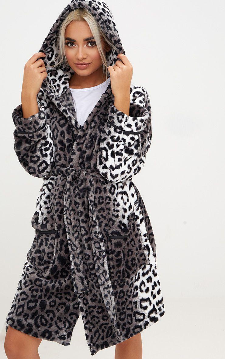 Grey Leopard Print Fluffy Dressing Gown