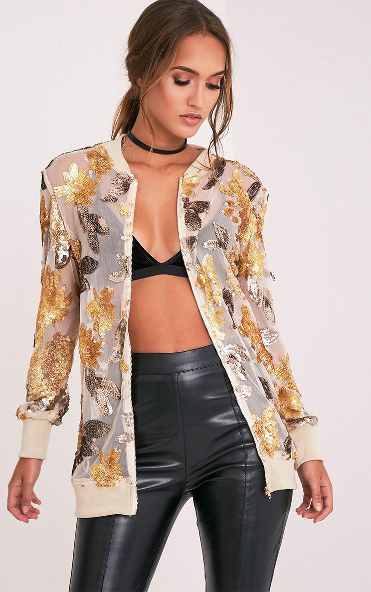 Carah Nude Longline Sequin Embellished Bomber Jacket