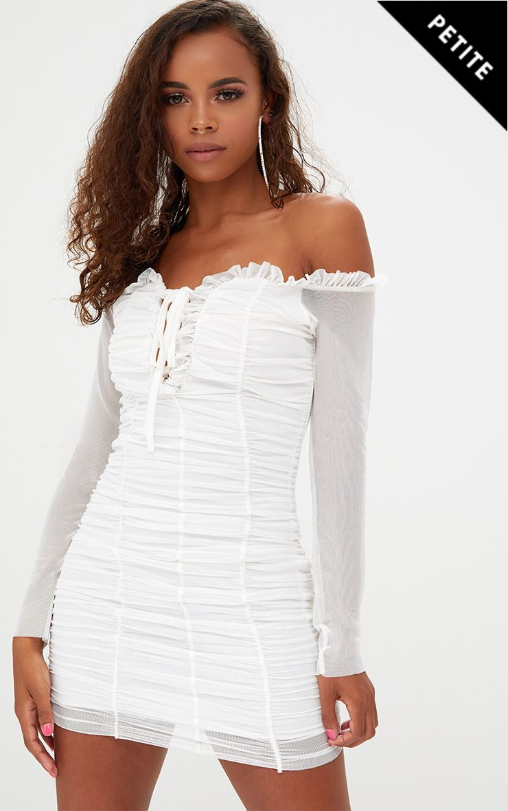 Petite White Gathered Bardot Bodycon Dress