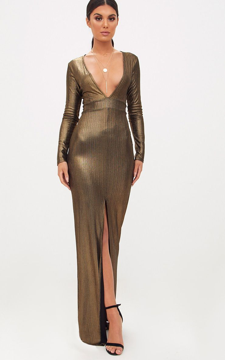 Bronze Metallic Long Sleeve Split Detail Maxi Dress