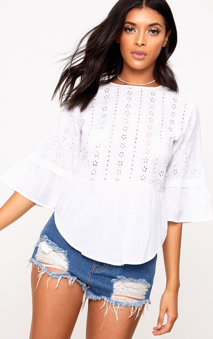 White Broderie Anglaise Crew Neck Smock Top
