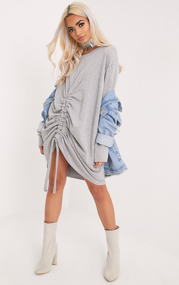 Devon Grey Front Ruche Sweater Dress