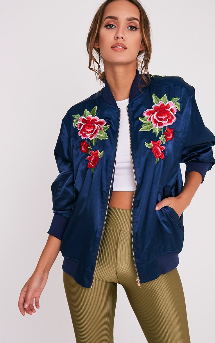 Babita Navy Satin Floral Applique Oversized Bomber Jacket