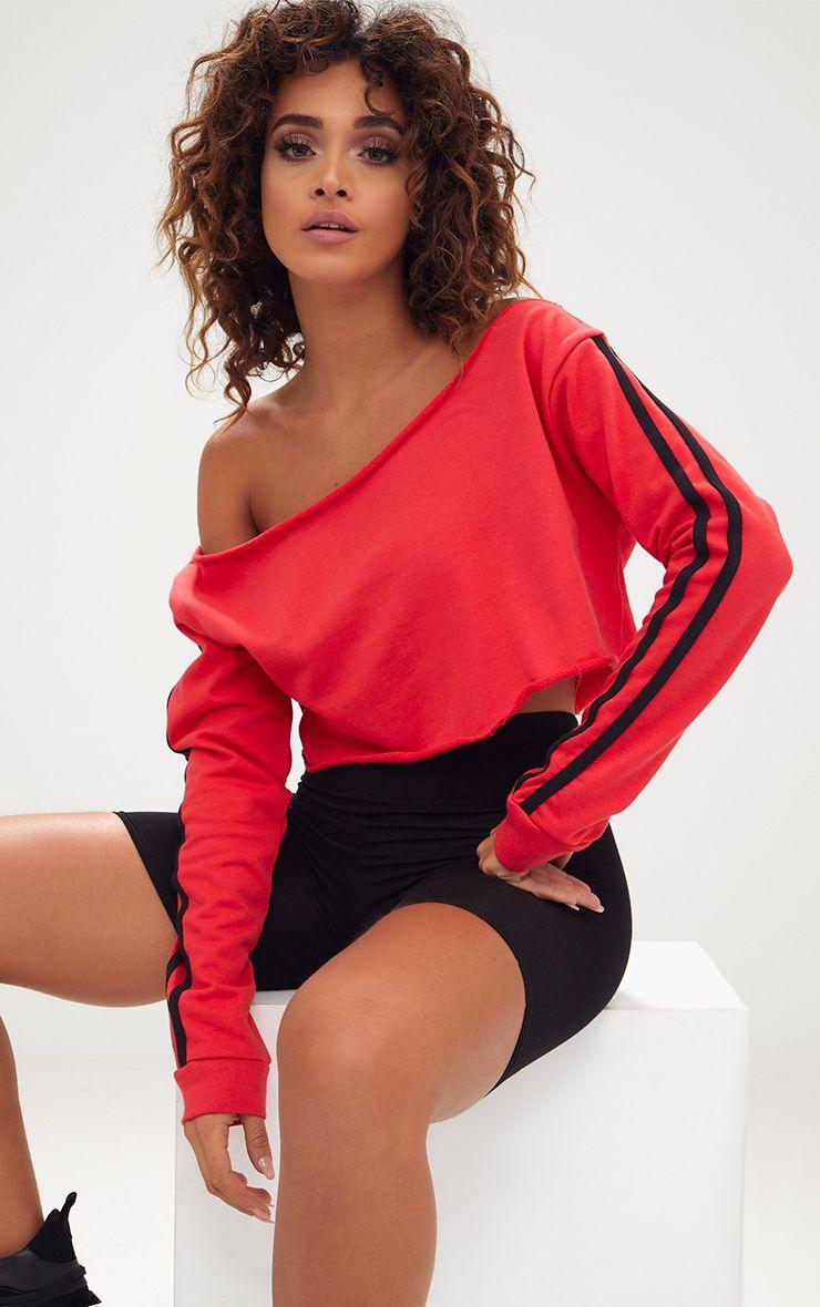 Red Crop Stripe Sleeve Sweater