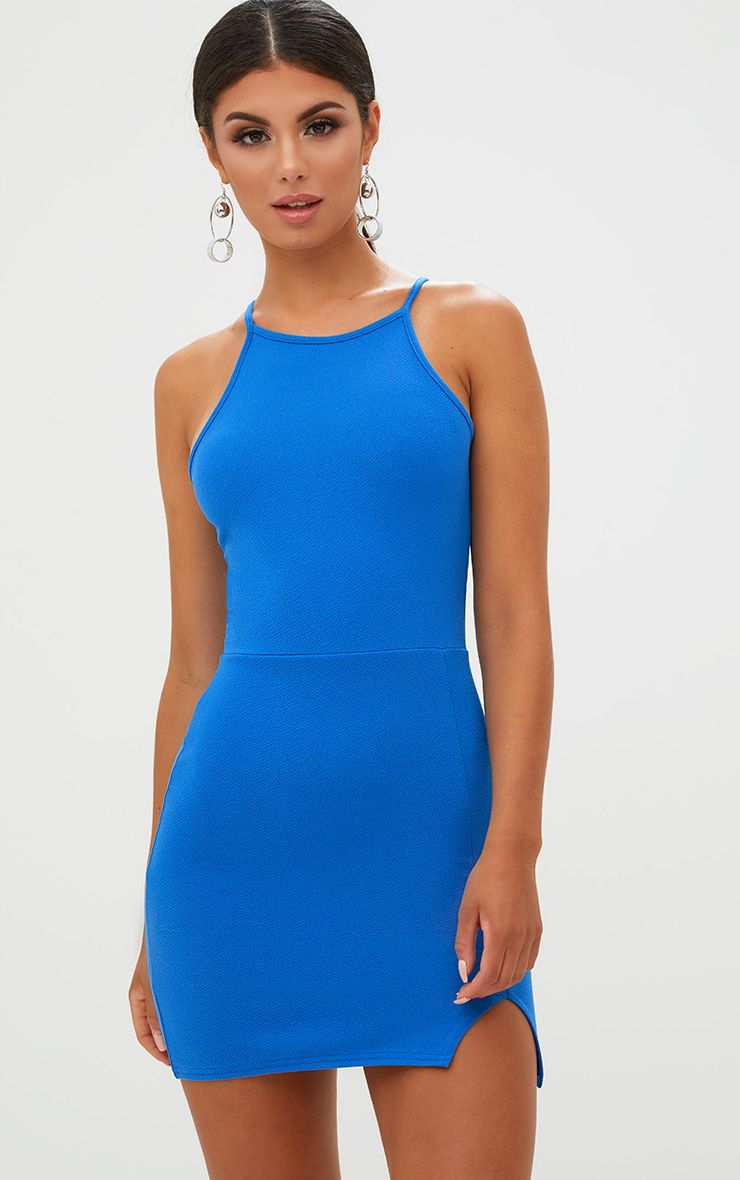 Cobalt High Neck Split Detail Bodycon Dress
