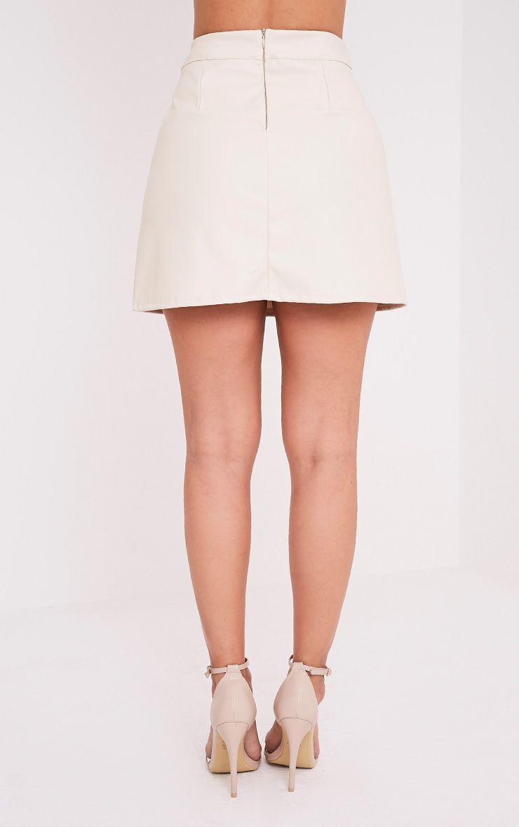 Rose jupe mini trapèze crème imitation cuir à bandes 4