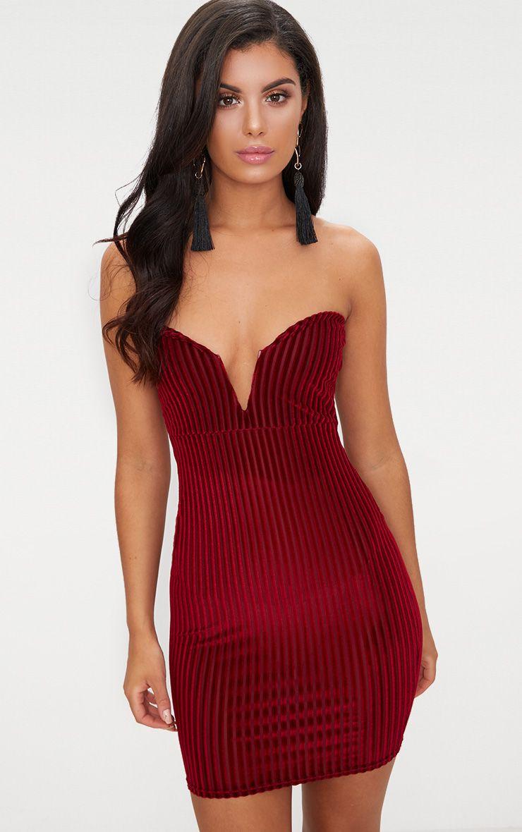 Burgundy Velvet Stripe Bandeau V Plunge Bodycon Dress