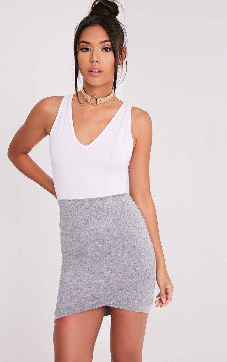 Sicilia Grey Scoop Neck Contrast Bodycon Dress 1