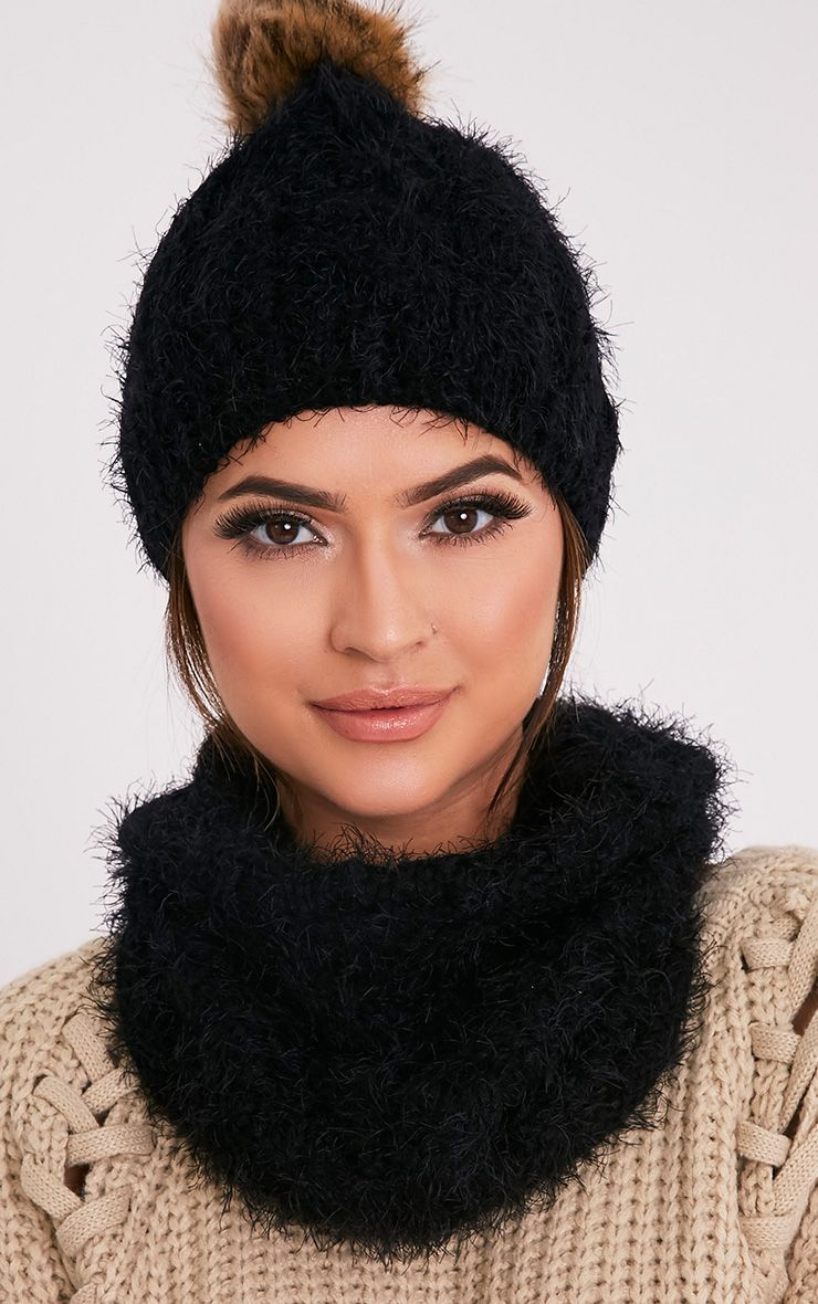 Two Pack Black Knitted Beanie and Snood