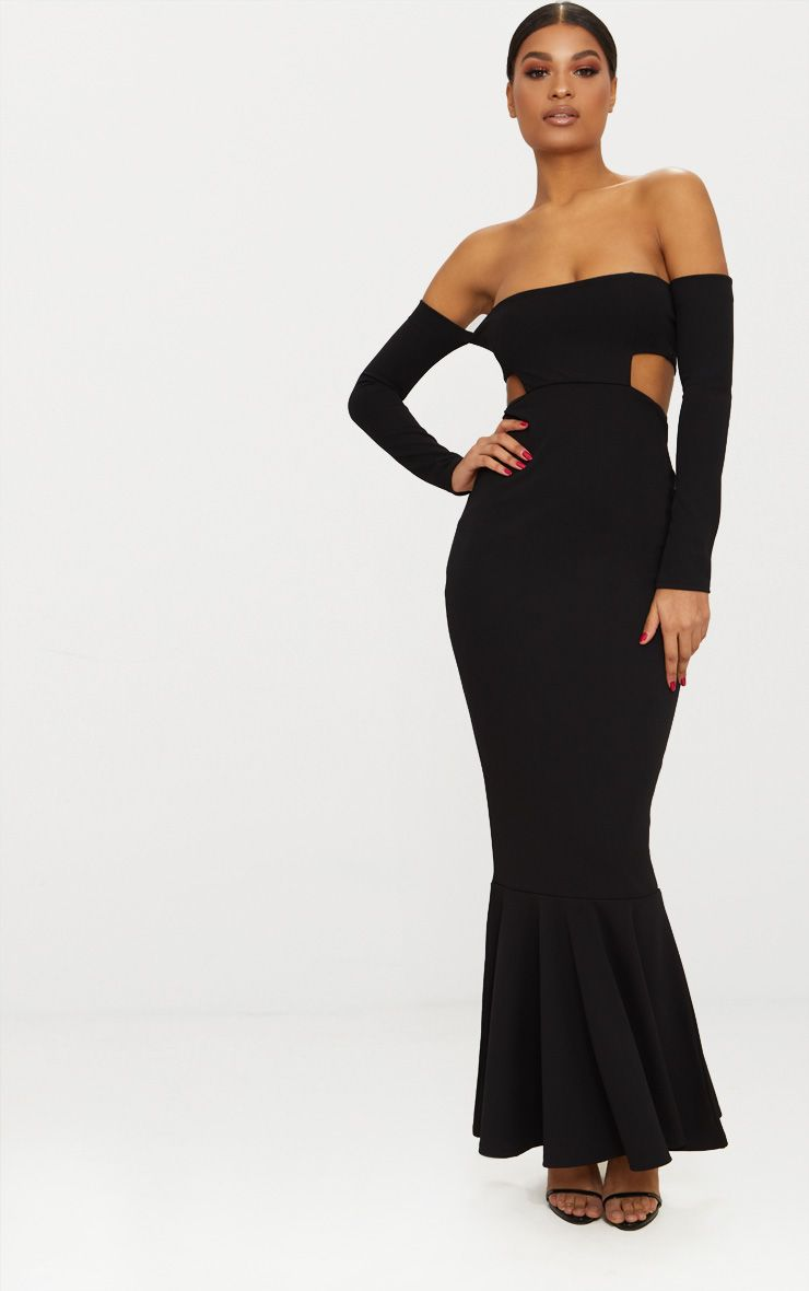 bfa4913ff52 Black Bardot Long Sleeve Cut Out Detail Fishtail Maxi Dress