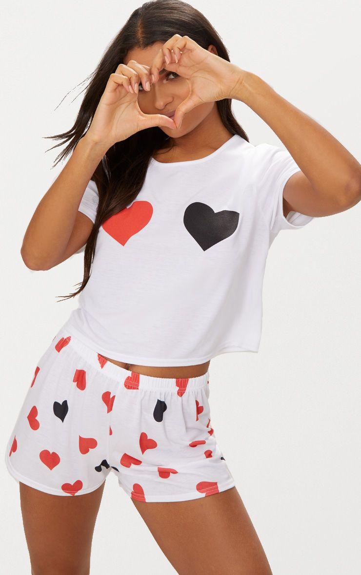 White Heart Print Short PJ Set