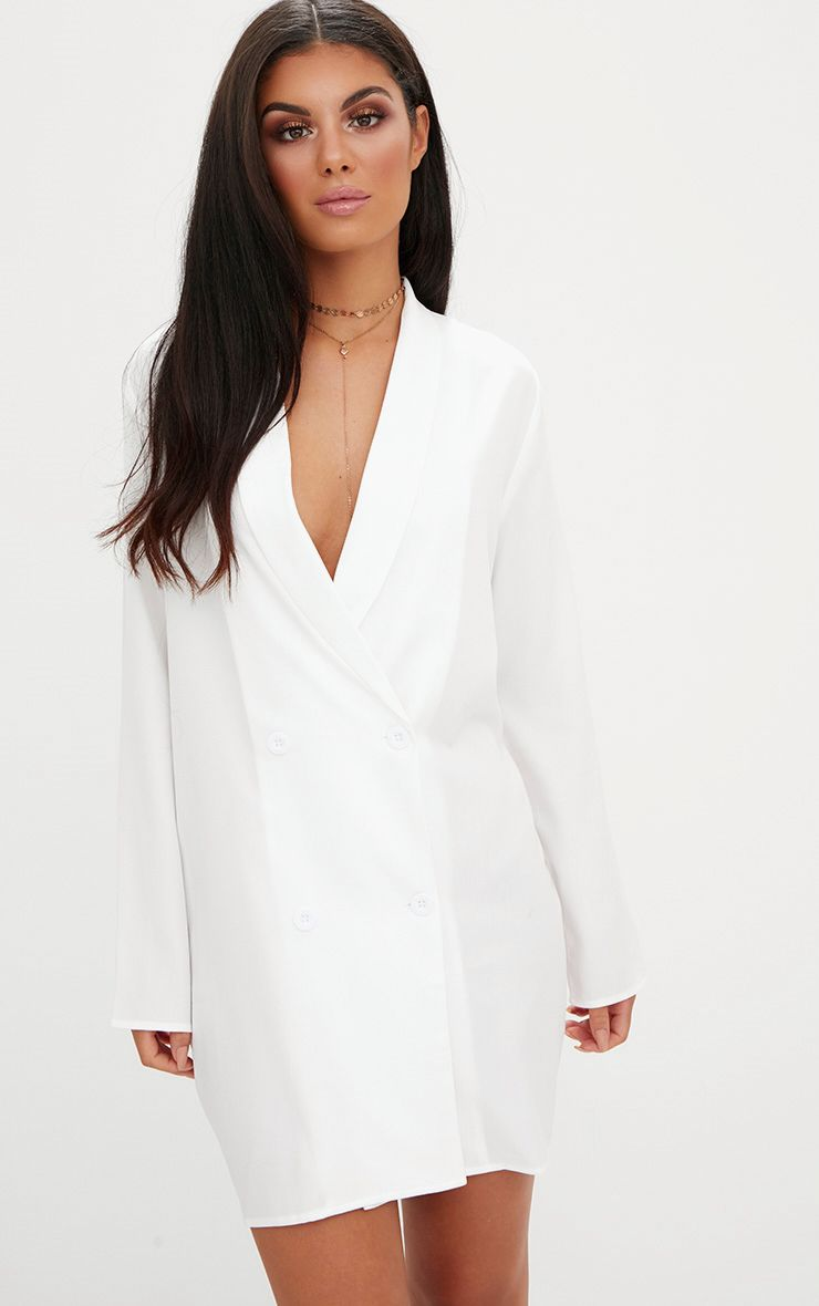 White Oversized Blazer Shift Dress