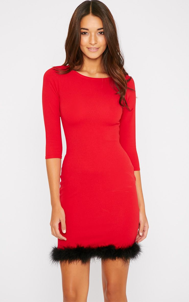Maya Red Fluffy Trim Dress 1