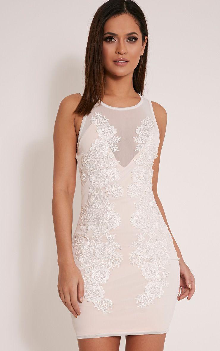 Kaelli White Floral Applique Mesh Overlay Dress 1