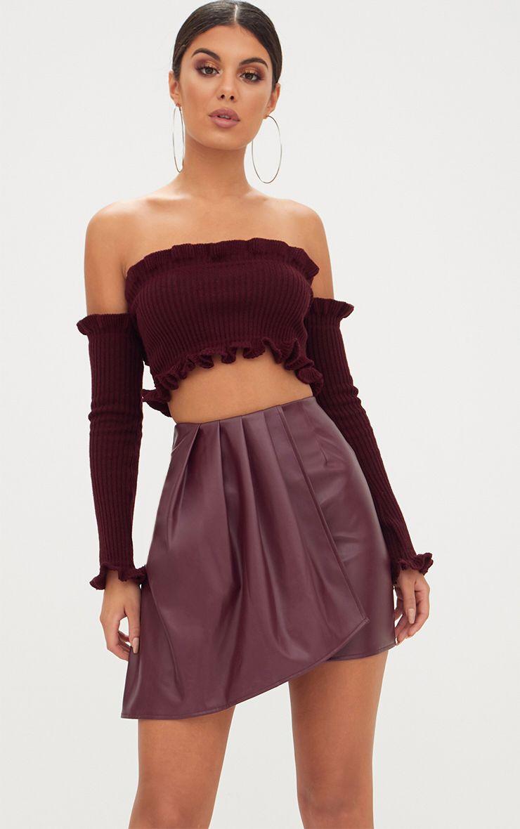 Maroon Faux Leather Pleat Drape Mini Skirt