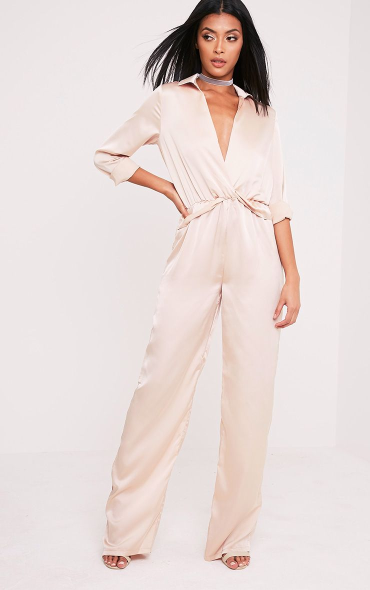 Valerie Champagne Long Sleeve Wide Leg Plunge Jumpsuit