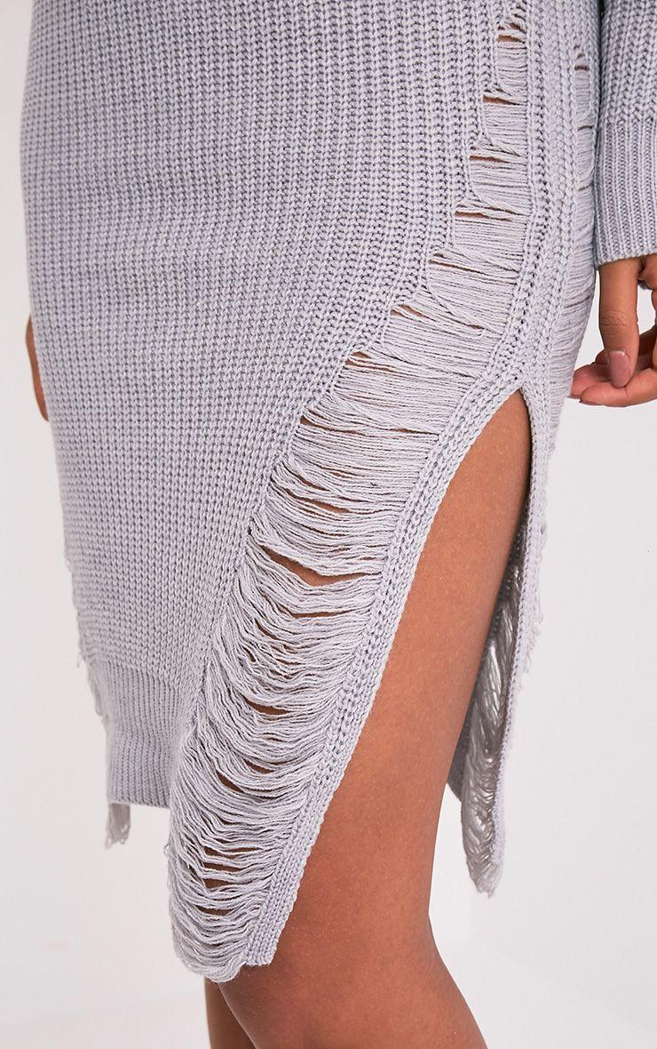 Kionae robe en maille surdimensionnée grise 6