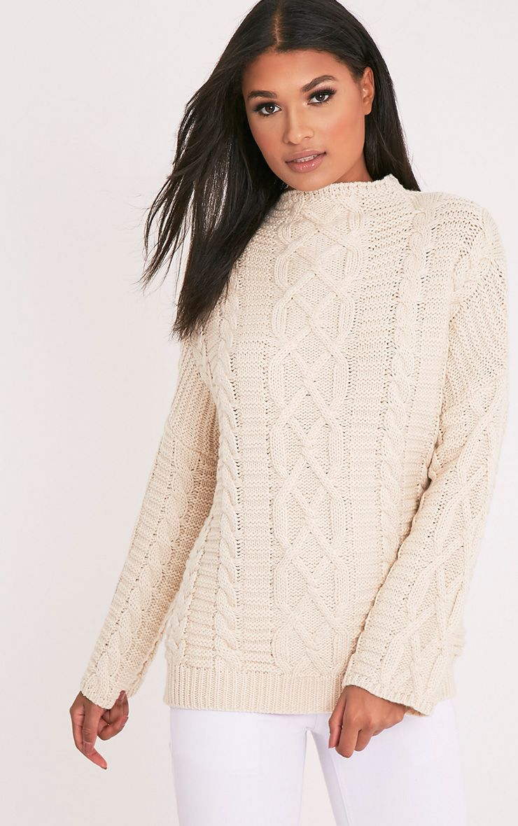 Giannae Beige Oversized Cableknit Jumper