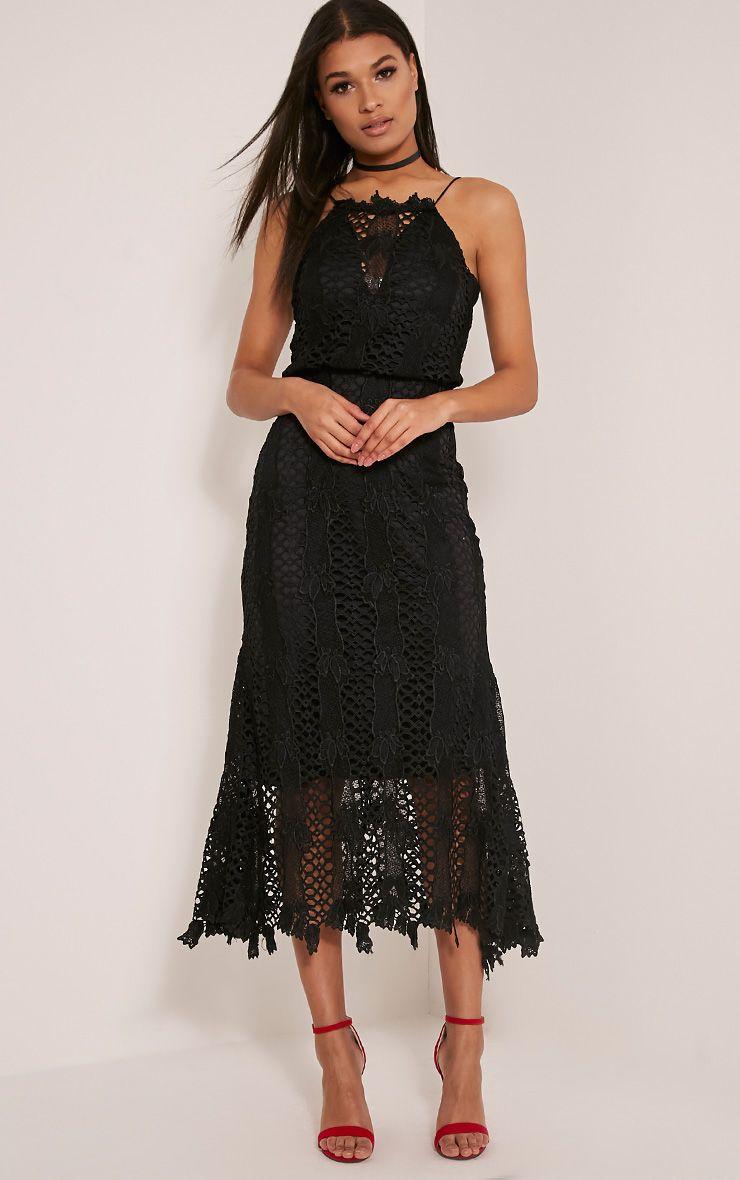 Reeya Premium robe midaxi en dentelle noire 5