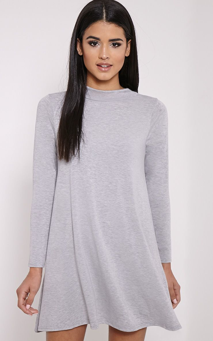 Basic Marl Grey Long Sleeved Jersey Swing Dress 1