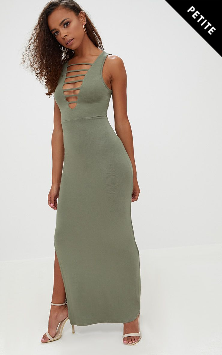 Petite Khaki Ladder Plunge Maxi Dress
