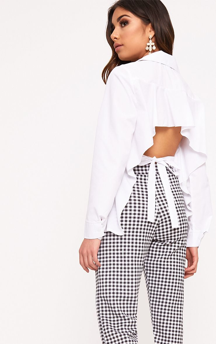 Abha White Woven Frill Open Tie Back Shirt