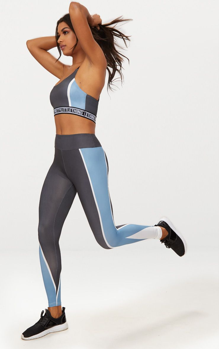 Charcoal Panelled Blue Stripe Sports Leggings