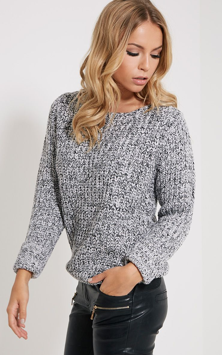 Eda Grey Chunky Knitted Jumper 1