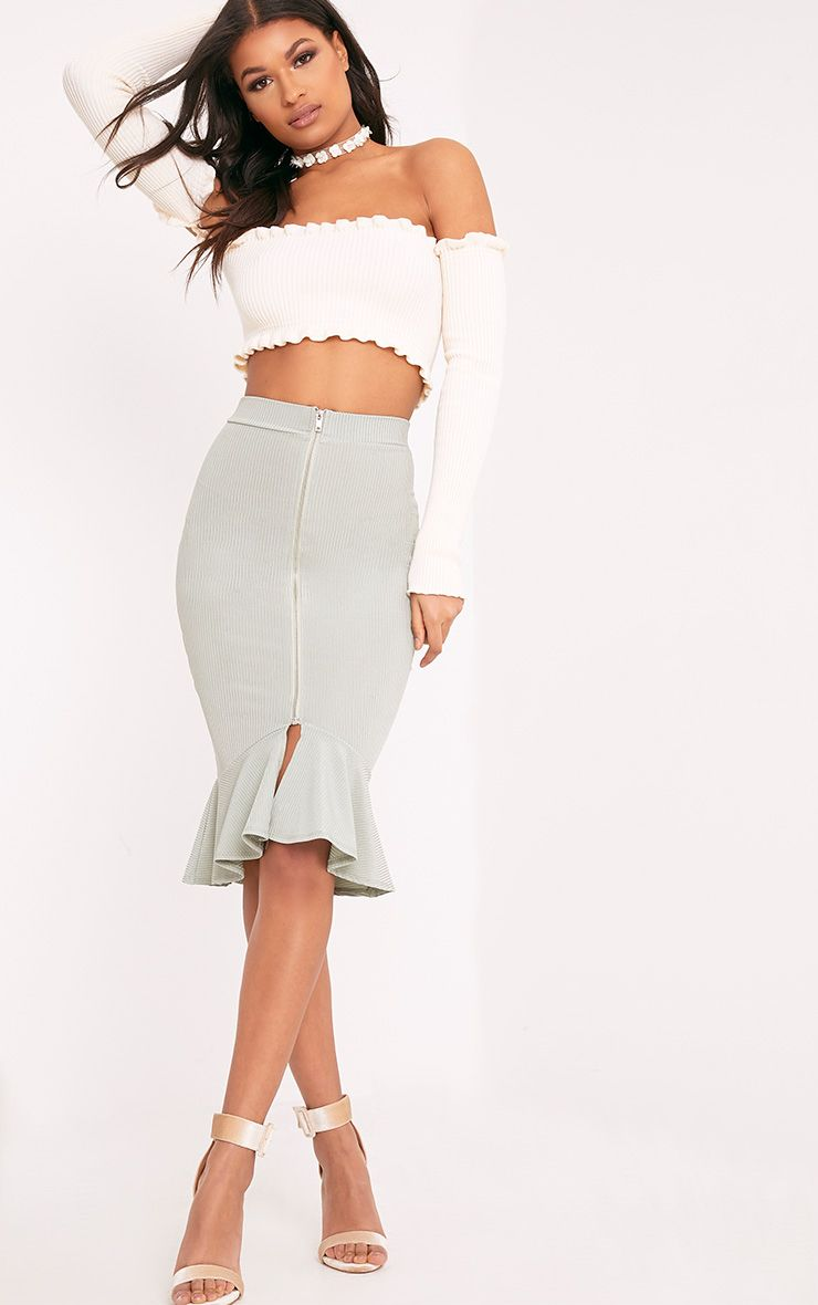 Kalisa Sage Green Slinky Rib Fishtail Midi Skirt